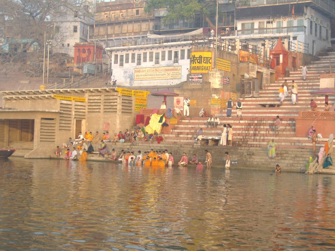 Holy dip at ghat in Banaras, Varanasi