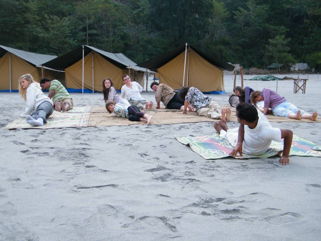 Group performing yoga at a camp in Rishikesh